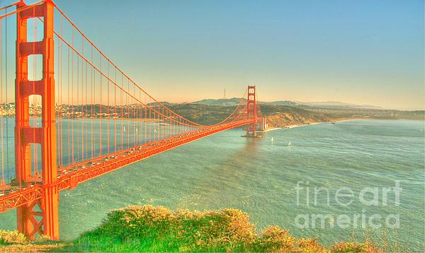 The Golden Gate Bridge  Fall Season Print by Alberta Brown Buller