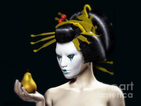 The Golden Pear Print by Sandra Bauser Digital Art