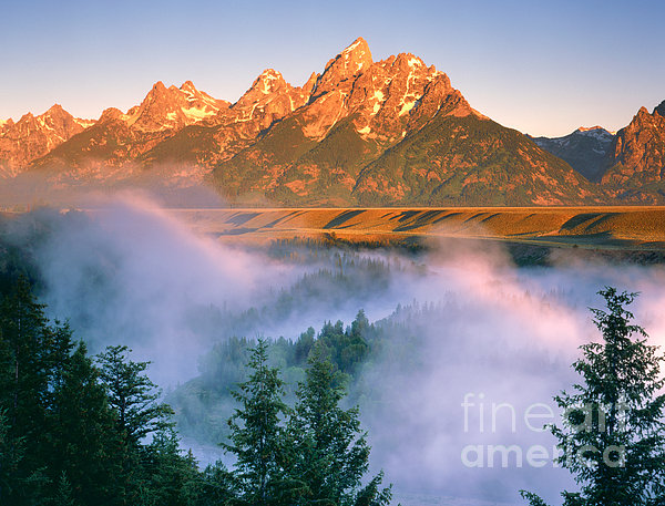 The Grand Tetons Print by Dennis Flaherty and Photo Researchers