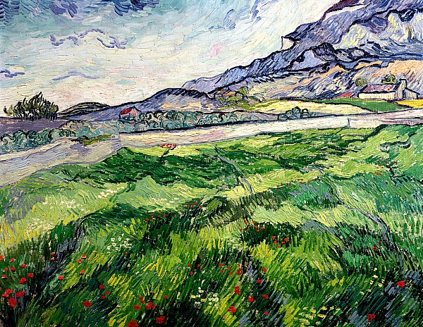 The Green Wheatfield Behind The Asylum Print by Vincent van Gogh