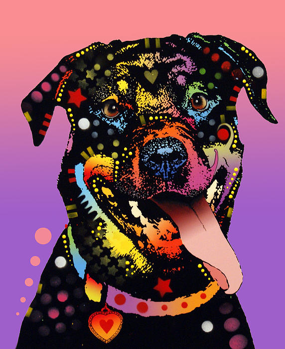 The Happy Rottie Print by Dean Russo