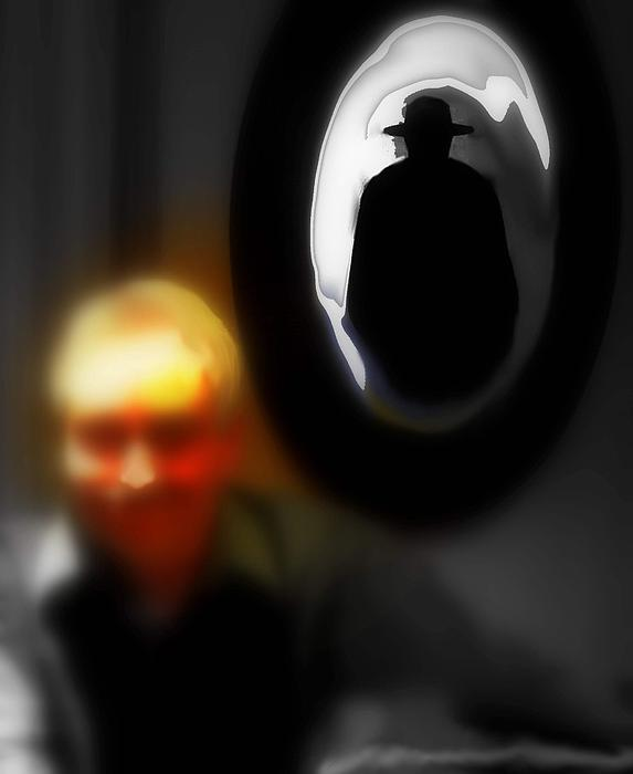 The Hat Man Is Watching Print by Carmen Cordova