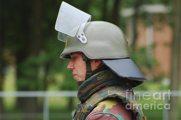 The Helmet And Visor Used Print by Luc De Jaeger