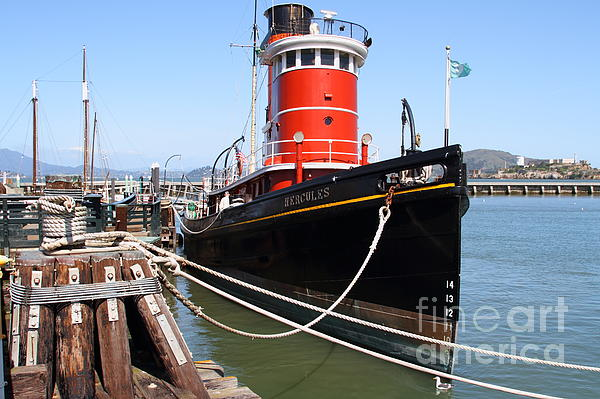 The Hercules . A 1907 Steam Tug Boat At The Hyde Street Pier In San Francisco California . 7d14137 Print by Wingsdomain Art and Photography