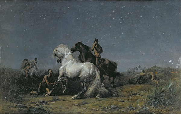 The Horse Thieves Print by Ferdinand Victor Eugene Delacroix