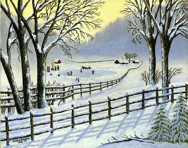 The Ice Skating Pond Print by Ellen Strope