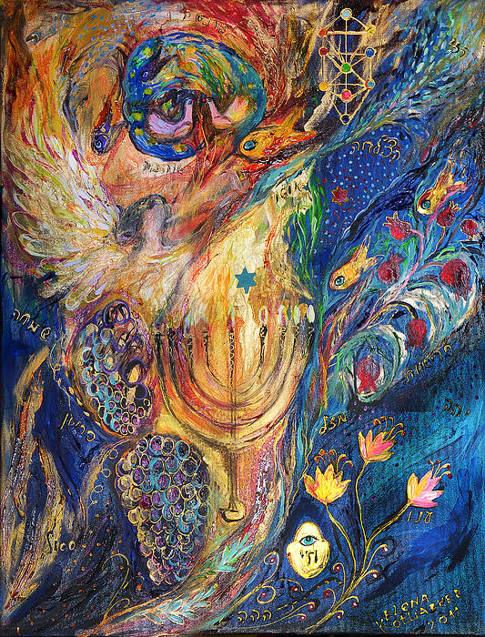The Keeper Of Menorah Print by Elena Kotliarker