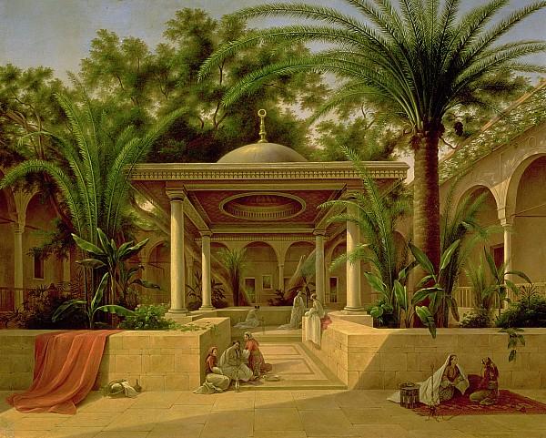 The Khabanija Fountain In Cairo Print by Grigory Tchernezov