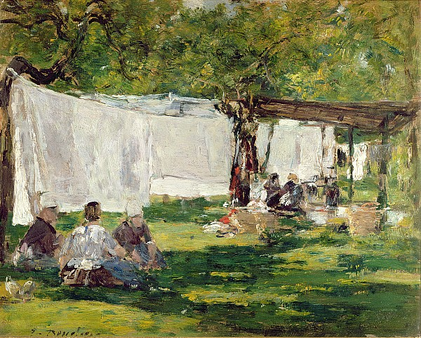 The Laundry At Collise St. Simeon  Print by Eugene Louis Boudin