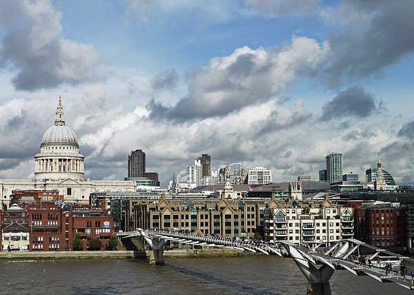 The London Skyline Towards St Paul's Cathedral Print by Eyespy
