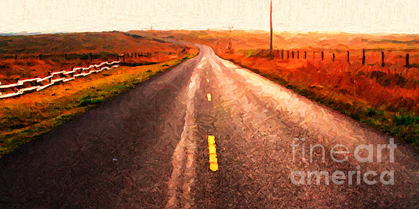 The Long Road Home . Painterly Style . Wide Size Print by Wingsdomain Art and Photography