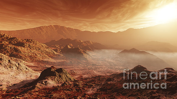 The Martian Sun Sets Over The High Print by Steven Hobbs