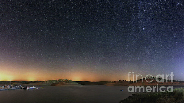 The Milky Way Over A Lake In Portugal Print by Miguel Claro