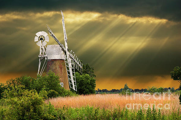 The Mill On The Marsh Print by Meirion Matthias