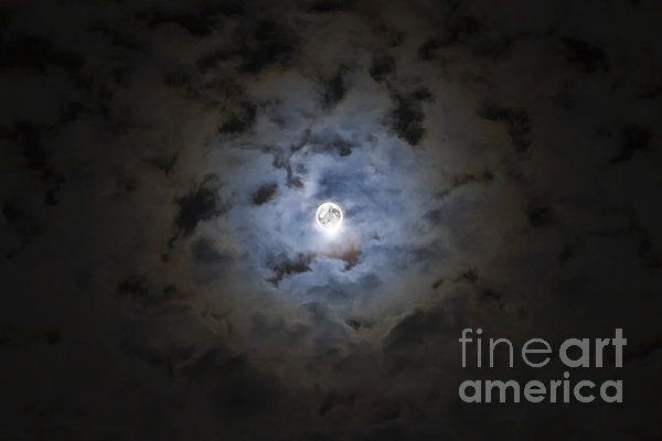 The Moon Covered By A Layer Of Clouds Print by Miguel Claro