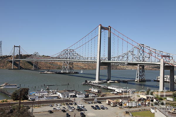 The New Alfred Zampa Memorial Bridge And The Old Carquinez Bridge . 5d16798 Print by Wingsdomain Art and Photography