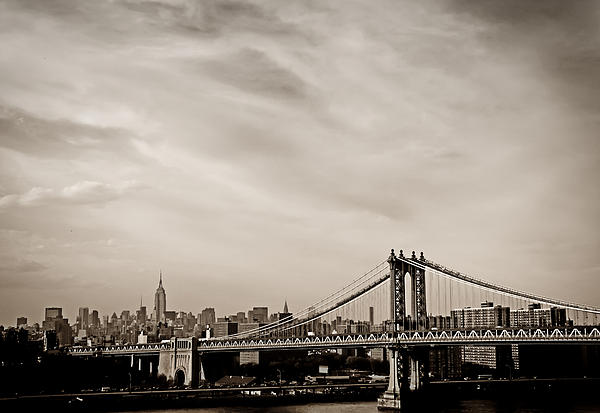 The New York City Skyline And The Manhattan Bridge Print by Vivienne Gucwa