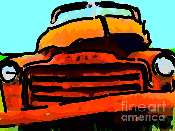 The Old Jalopy . 7d8396 . Color Sketch Style Print by Wingsdomain Art and Photography