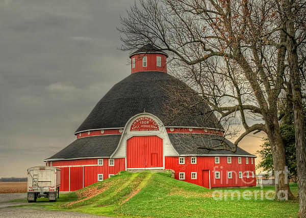 The Old Round Barn Of Ohio Print by Pamela Baker