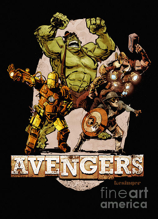 The Old Time-y Avengers Print by Brian Kesinger
