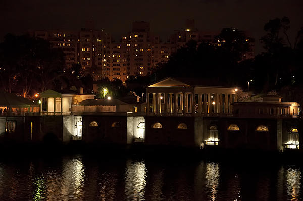 The Philadelphia Waterworks All Lit Up Print by Bill Cannon