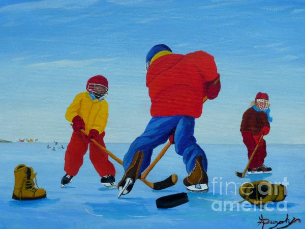 The Pond Hockey Game Painting  - The Pond Hockey Game Fine Art Print