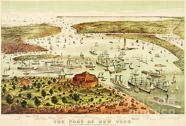 The Port Of New York Harbor Print by Pg Reproductions