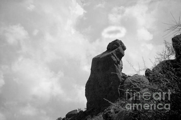 The Praying Monk With Halo - Camelback Mountain Bw Print by James BO  Insogna