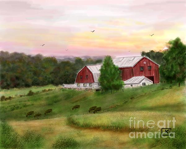 Judy Filarecki - The Red Barn at Sunset