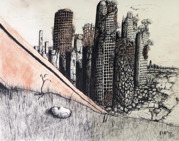 The Red Dust Billows Forth Drawing  - The Red Dust Billows Forth Fine Art Print