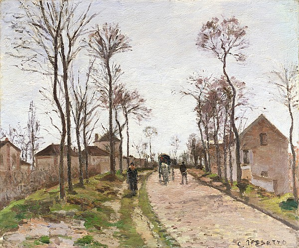 The Road To Saint Cyr At Louveciennes Print by Camille Pissarro