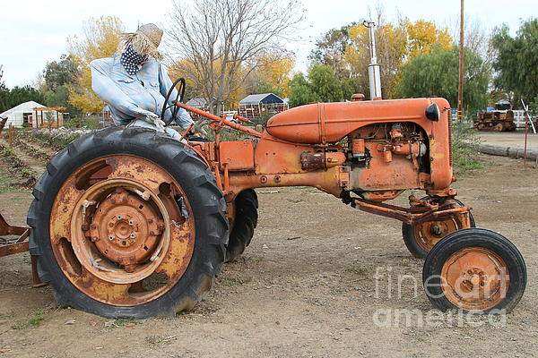 The Scarecrow Riding On The Old Farm Tractor . 7d10301 Print by Wingsdomain Art and Photography
