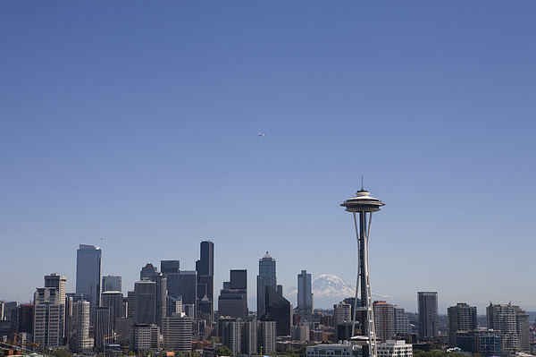 The Skyline Of Seattle On A Sunny Print by Taylor S. Kennedy