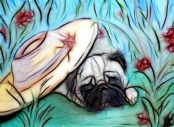 The Sleepy Garden Pug 2 Print by Lisa Stanley