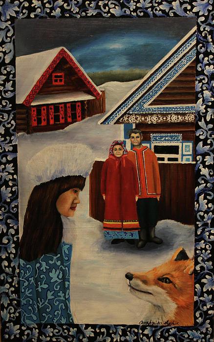 The Snow Girl Print by Anzhelika Lychik