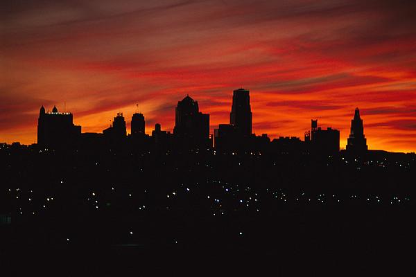 The Sun Rises Over The Skyline Print by Stephen Alvarez