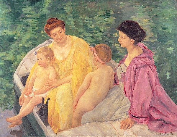 The Swim Or Two Mothers And Their Children On A Boat Print by Mary Stevenson Cassatt