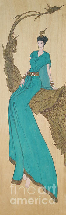 The Thai Traditional Contemporary Drawing Fairy Tale On Wood Print by Ittipon Kongsua