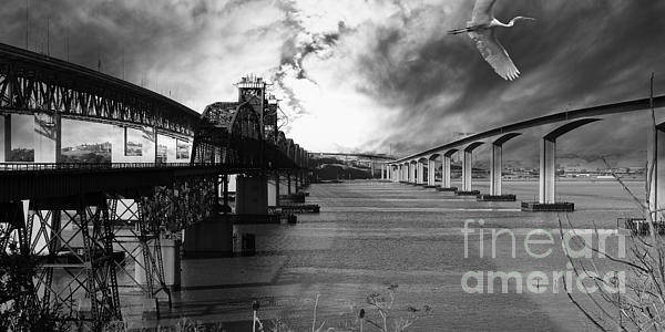 The Three Benicia-martinez Bridges . A Journey Through Time . Black And White Print by Wingsdomain Art and Photography