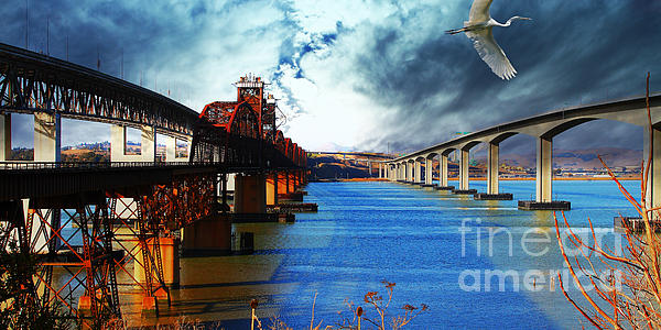 The Three Benicia-martinez Bridges . A Journey Through Time Print by Wingsdomain Art and Photography