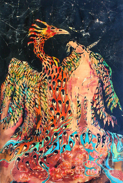 The Unicorn And Phoenix Rise From The Earth Print by Carol Law Conklin