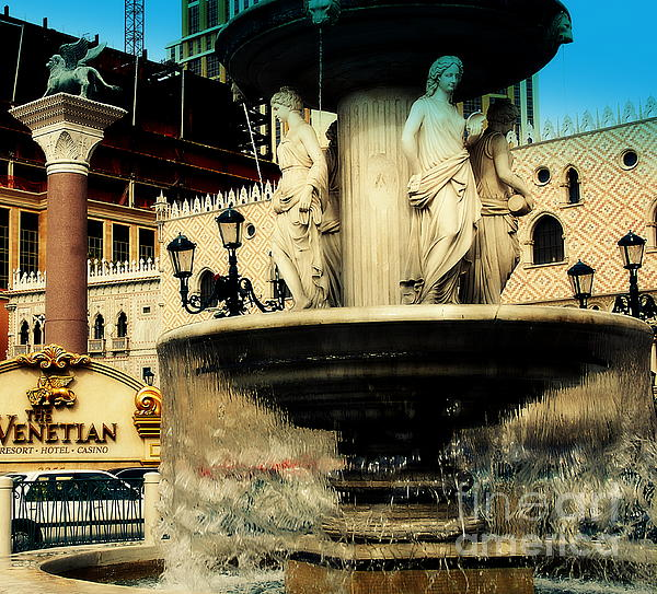 The Venetian Fountain In Las Vegas Print by Susanne Van Hulst