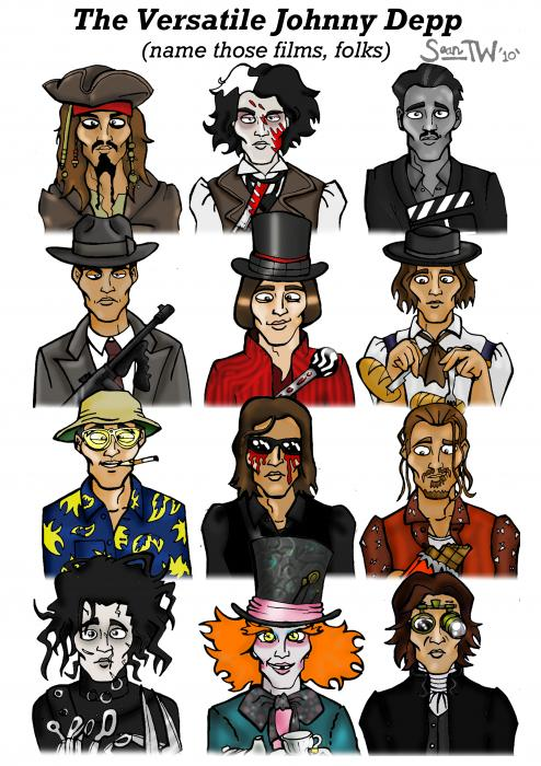 The Versatile Johnny Depp Digital Art  - The Versatile Johnny Depp Fine Art Print