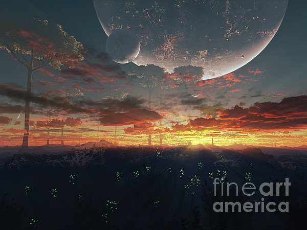 The View From An Alien Moon Towards Print by Brian Christensen