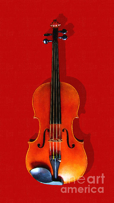The Violin . Red Version . Painterly Print by Wingsdomain Art and Photography