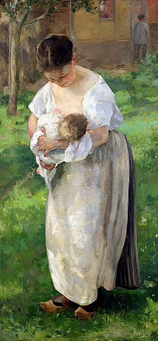 The Wet Nurse Print by Alfred Roll