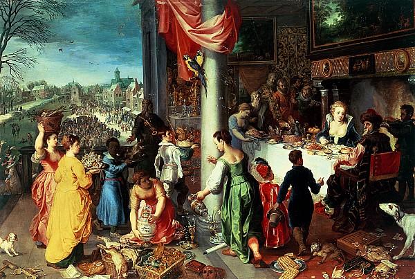 The Winter Feast Print by Hendrik van the Elder Balen