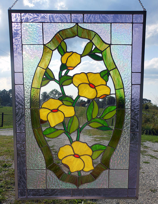 The Yellow Roses Stained Glass Panel Print by Arlene  Wright-Correll