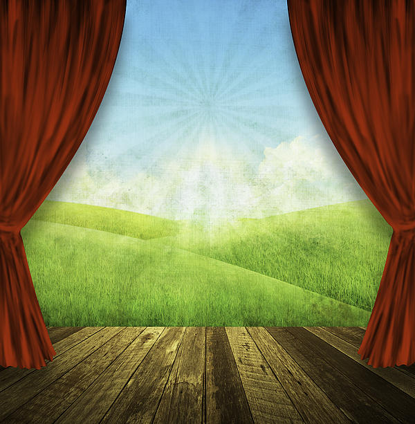 Theater Stage With Red Curtains And Nature Background  Print by Setsiri Silapasuwanchai