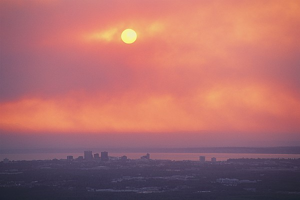 This Sunset Of The Anchorage Skyline Print by George F. Mobley